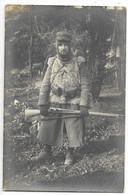 CARTE PHOTO - Portrait De Militaire En Tenue D'hiver, Fusil... - Uniformes