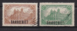 2 Timbres  N° 46  &   N° 47  :  Y & T   Timbres Oblitérés    1,25 Mark  Et 1,50 Mark   Surcharge Saargebiet - Used Stamps