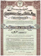 Obligation Ancienne - Sté Anonyme Des Charbonnages Unis De L'Ouest De Mons - Titre De 1916 N°09575 - Mineral
