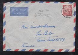 BRD Bund 1955 Heuss 1x 80Pf EF Luftpost Brief AHAUS Nach SAO PAULO Brasilien Brazil - Lettres & Documents