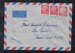 BRD Bund 1956 Heuss 80Pf + 2x20Pf Luftpost Brief STADTLOHN Nach SAO PAULO Brasilien Brazil - Lettres & Documents