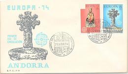ANDORRA - FDC EUROPA 74 - 29.4.1974  /1 - Cartas