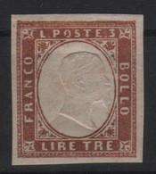 1861-63 Regno Di Sardegna 3 Lire Rame Vivo MLH LUX - Sardinia
