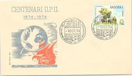 ANDORRA - FDC CENTENARI U.P.U. - 9.10.1974  /1 - Cartas