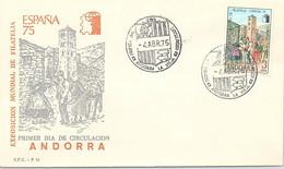 ANDORRA - FDC ESPANA 75 - 4.4.1975  /1 - Cartas