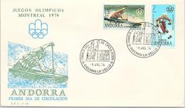 ANDORRA - FDC JUEGOS OLIMPICOS MONTREAL 1976 - 9.7.76    /1 - Cartas