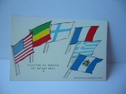 COLLECTION DES DRAPEAUX DES NATIONS UNIES V ETATS UNIS ETHIOPIE FINLANDE FRANCE GRECE   CPA L'UNION DE PARMACOLOGIE - Werbepostkarten