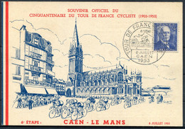 1953 Tour De France Souvenir Officiel Cinquantenaire Cycling Postcard Caen - Le Mans - Covers & Documents