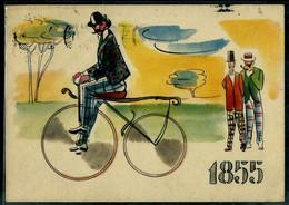 §  PIRELLI L'amico Del Ciclista * La Storia Della Bicicletta * § - Werbepostkarten