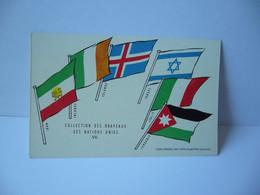 COLLECTION DES DRAPEAUX DES NATIONS UNIES VII IRAN IRLANDE ISLANDE ISRAEL ITALIE JORDANIE  CPA L'UNION DE PARMACOLOGIE - Werbepostkarten