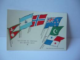 COLLECTION DES DRAPEAUX DES NATIONS UNIES IX NEPAL NICARAGUA NORVEGE NOUVELLE ZELANDE PANAMA CPA L'UNION DE PARMACOLOGIE - Werbepostkarten