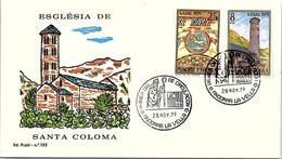 ANDORRA - FDC ESGLESIA DE SANTA COLOMA - 28.11.79  /1 - Cartas