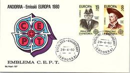 ANDORRA - FDC EUROPA 1980 - C.E.P.T. - 28.4.80  /1 - Cartas