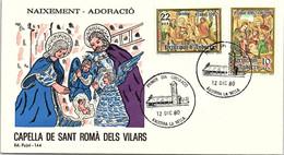 ANDORRA - FDC NAIXEMENT ADORACIO - CAPELLA DE SANT ROMA DELS VILARS  - 12.12.80  /1 - Cartas