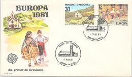 ANDORRA - FDC EUROPA 1981 - 7.5.81  /1 - Cartas