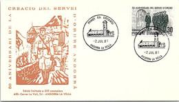 ANDORRA - FDC 50e ANNIV. CREACIO DEL SERVEI D'ORDRE ANDORRA - 2.7.81  /1 - Cartas