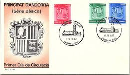 ANDORRA - FDC SERIE BASICA   - 17.2.1982  /1 - Cartas