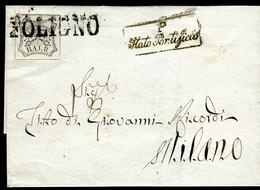 1852  Stato Pontificio Lettera Con 8 Baj Bianco Da Foligno Per Milano - Papal States
