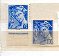 FRANCE N° 407 10C OUTREMER TYPE MERCURE 2 NUANCES DE COULEUR NEUF SANS CHARNIERE - Curiosités: 1931-40 Neufs
