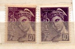 FRANCE N° 413 40C VIOLET TYPE MERCURE 2 NUANCES DE COULEUR NEUF SANS CHARNIERE - Curiosités: 1931-40 Neufs