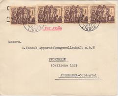 Portugal - 4x1 E. Kolonialisierung Azoren Luftpostbrief Lissabon1Pforzheim 1952 - Postwaardestukken