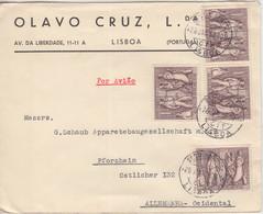 Portugal - 4x1 E. 20. Jahrestag Militärputsch Luftpostbrief Lissabon 1952 - Postwaardestukken