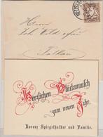 Bayern - 3 Pfg. Wappen Neujahrs-Drucksache Neustadt A/H. - Falkau 29.12.1890 - Sin Clasificación