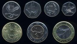 Botswana 5,10,25,50 Thebe; 1,2,5 Pula 2013, Set Of 7, Animals, Birds, KM#31-37, Unc, Bi-metalic 2 Pcs. - Botswana