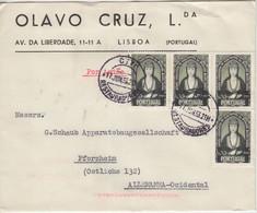 Portugal - 4x1 E. 500. Geb. Santa Joana Luftpostbrief Lissabon - Pforzheim 1953 - Postwaardestukken