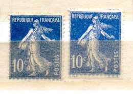 FRANCE N° 279 10C OUTREMER TYPE SEMEUSE 2 NUANCES DIFFERENTES NEUF SANS CHARNIERE - Curiosités: 1931-40 Neufs