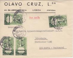 Portugal - 4x1 E. 3 J. OTAN Luftpostbrief-Vds. Lissabon - Pforzheim 1952 - Postwaardestukken