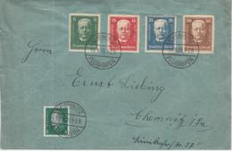 DR - 80. Geb. Hindenburg Vignetten-Satz Ortsbrief Chemnitz-Flughafen 18.9.28 - Cartas
