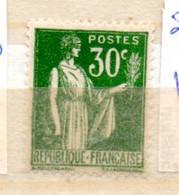 FRANCE N° 280 30C VERT TYPE PAIX VERT PALE NEUF SANS CHARNIERE - Curiosités: 1931-40 Neufs