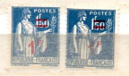FRANCE N° 485 1F S 1F50 BLEU TYPE PAIX 2 NUANCES DIFFERENTES NEUF SANS CHARNIERE - Curiosités: 1931-40 Neufs