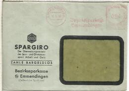ALEMANIA 1948 EMMENDINGEN FRANQUEO MECANICO METER SPARGIRO AHORRO SAVINGS BANK - Cartas