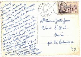 Sur CPSM LASCELLE CANTAL VERS PLANES PYRENEES ORIENTALES TIMBRE CAHORS DOUBLE OBLITERATION PERLEE LASCELLE - 1921-1960: Période Moderne