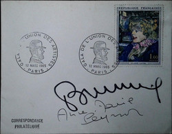 F 19   1965 1er Jour Union Des Artistes Lettre Avec Signatures - Matasellos Conmemorativos