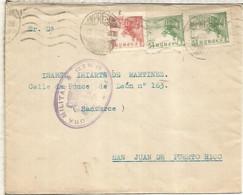 MADRID A PUERTO RICO SELLOS CID CON MAT RODILLO IMPRESOS CENSURA MILITAR - 1931-50 Cartas