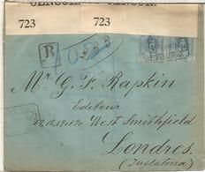 BARCELONA 1916 CC CERTIFICADA A LONDRES SELLOS ALFONSO XIII MEDALLON CON CENSURA BRITANICA - Briefe U. Dokumente