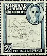 Falkland Islands, Dependencies 1949 2½d SG G11b ** MNH KGVI (002711) - Usados