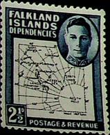 Falkland Islands, Dependencies 1949 2½d SG G11b * MH KGVI (002717) - Usados
