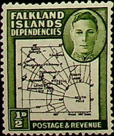 Falkland Islands, Dependencies 1946 ½d SG G1 * MH KGVI (002746) - Usados