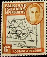Falkland Islands, Dependencies 1946 6d SG G6e * MH KGVI BLACK AND OCHRE VARIANT (002753) - Usados