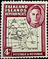 Falkland Islands, Dependencies 1946 4d SGG5a * MH KGVI  80th Paral Flaw (002755) - Usados