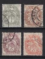 France Crete 1902, Lot Of 4 Stamps (o), Used - Oblitérés