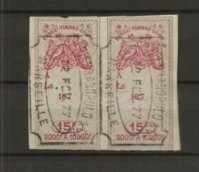 FISCAUX EFFET PAIRE DU  N°230  15F   TYPE GROUPE ALLEGORIQUE 1874/77 - Fiscaux