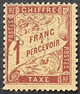 France YTYX040-Timbres Taxe Type Duval Papier 1 F Used Stamp 1893-1935 - FRAYX040U - Fiscaux