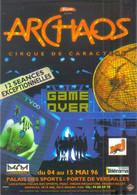 """Carte Postale édition """"Promocartes"""" - Archaos, Cirque De Caractère (Game Over) Palais Des Sports (invitation) - Werbepostkarten"""