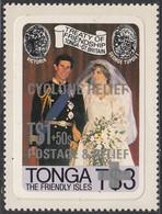 Tonga 1982 MH Sc #B1 3pa + 50s Cyclone Relief Charles, Diana Wedding Photo - Tonga (1970-...)