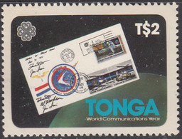 Tonga 1983 MH Sc #548 2pa Apollo 15 Moon Cover International Communicatons Year - Tonga (1970-...)